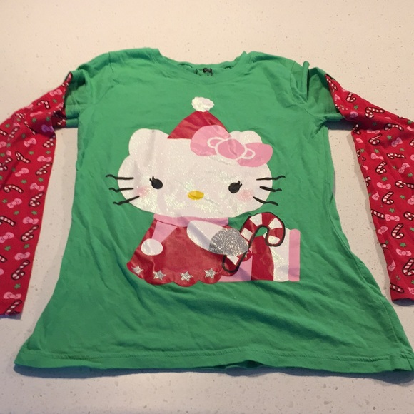 Hello Kitty Other - Hello kitty ugly Christmas tee candy cane 14/16